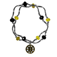 Boston Bruins Crystal Bead Bracelet - Officially licensed Boston Bruins crystal bead bracelet with Boston Bruins colored crystal separated with chrome helix beads. The Boston Bruins Crystal Bead Bracelet features a Boston Bruins charm with exceptional detail.