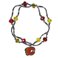 Calgary Flames Crystal Bead Bracelet - Officially licensed Calgary Flames crystal bead bracelet with Calgary Flames colored crystal separated with chrome helix beads. The Calgary Flames Crystal Bead Bracelet features a Calgary Flames charm with exceptional detail.