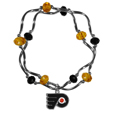 Philadelphia Flyers Crystal Bead Bracelet - Officially licensed Philadelphia Flyers crystal bead bracelet with Philadelphia Flyers colored crystal separated with chrome helix beads. The Philadelphia Flyers Crystal Bead Bracelet features a Philadelphia Flyers charm with exceptional detail.