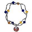 New York Islanders Crystal Bead Bracelet - Officially licensed New York Islanders crystal bead bracelet with New York Islanders colored crystal separated with chrome helix beads. The New York Islanders Crystal Bead Bracelet features a New York Islanders charm with exceptional detail.
