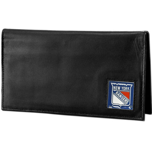 NHL Dlx. Checkbook Cover in Box -  New York Rangers - New York Rangers deluxe NHL checkbook cover is made of high quality leather and includes a card holder, clear ID window, and inside zipper pocket for added storage. New York Rangers logo square is sculpted and enameled with fine detail. Packaged in a window box. Thank you for visiting CrazedOutSports