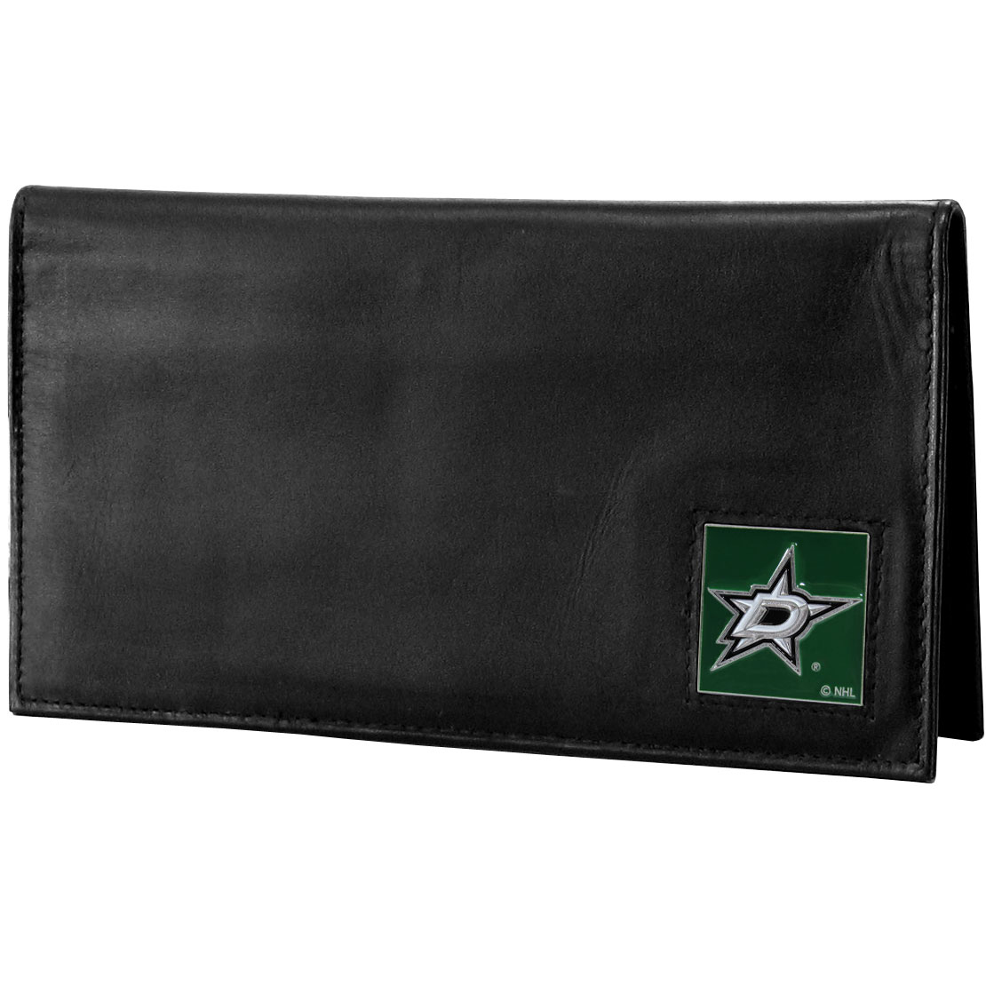 Dallas Stars™ Deluxe Leather Checkbook Cover - Our officially licensed checkbook cover is made of high quality leather and includes a card holder, clear ID window, and inside zipper pocket for added storage. Fully cast and enameled Dallas Stars™ team emblem on the front of the wallet.