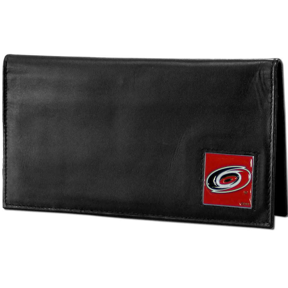 Carolina Hurricanes® Deluxe Leather Checkbook Cover - Our officially licensed checkbook cover is made of high quality leather and includes a card holder, clear ID window, and inside zipper pocket for added storage. Fully cast and enameled Carolina Hurricanes® team emblem on the front of the wallet.
