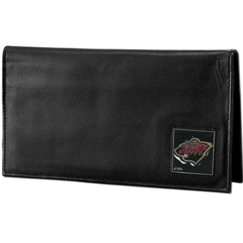 Minnesota Wild Leather Dlx. Checkbook - Officially licensed NHL Minnesota Wild checkbook cover is made of high quality leather and includes a card holder, clear ID window, and inside zipper pocket for added storage. Fully cast and enameled Minnesota Wild emblem on the front of the wallet. Thank you for visiting CrazedOutSports