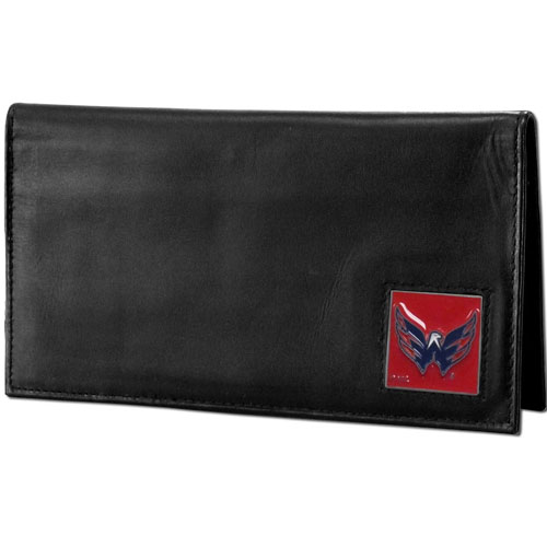 Washington Capitals Leather Dlx. Checkbook - Officially licensed NHL Washington Capitals checkbook cover is made of high quality leather and includes a card holder, clear ID window, and inside zipper pocket for added storage. Fully cast and enameled Washington Capitals emblem on the front of the wallet. Thank you for visiting CrazedOutSports