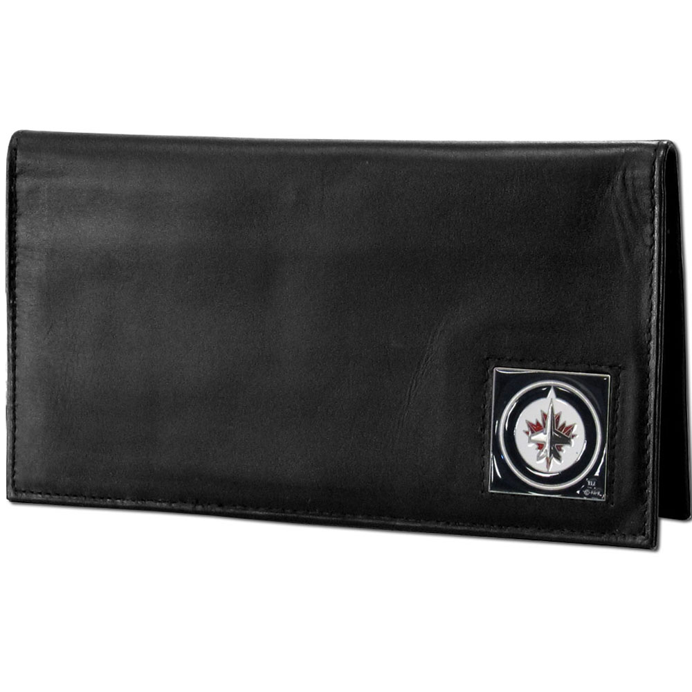 Winnipeg Jets™ Deluxe Leather Checkbook Cover - Our officially licensed checkbook cover is made of high quality leather and includes a card holder, clear ID window, and inside zipper pocket for added storage. Fully cast and enameled Winnipeg Jets™ team emblem on the front of the wallet.