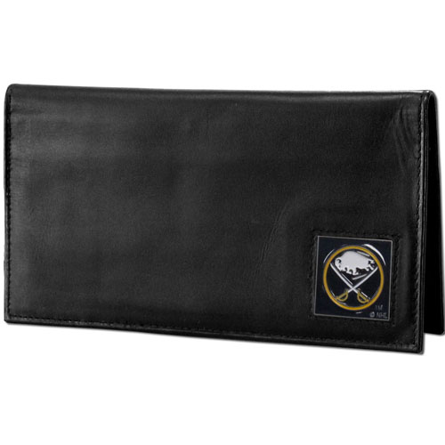 NHL Dlx. Checkbook Cover in Box -  Buffalo Sabres - Buffalo Sabres deluxe NHL checkbook cover is made of high quality leather and includes a card holder, clear ID window, and inside zipper pocket for added storage. Buffalo Sabres logo square is sculpted and enameled with fine detail. Packaged in a window box.