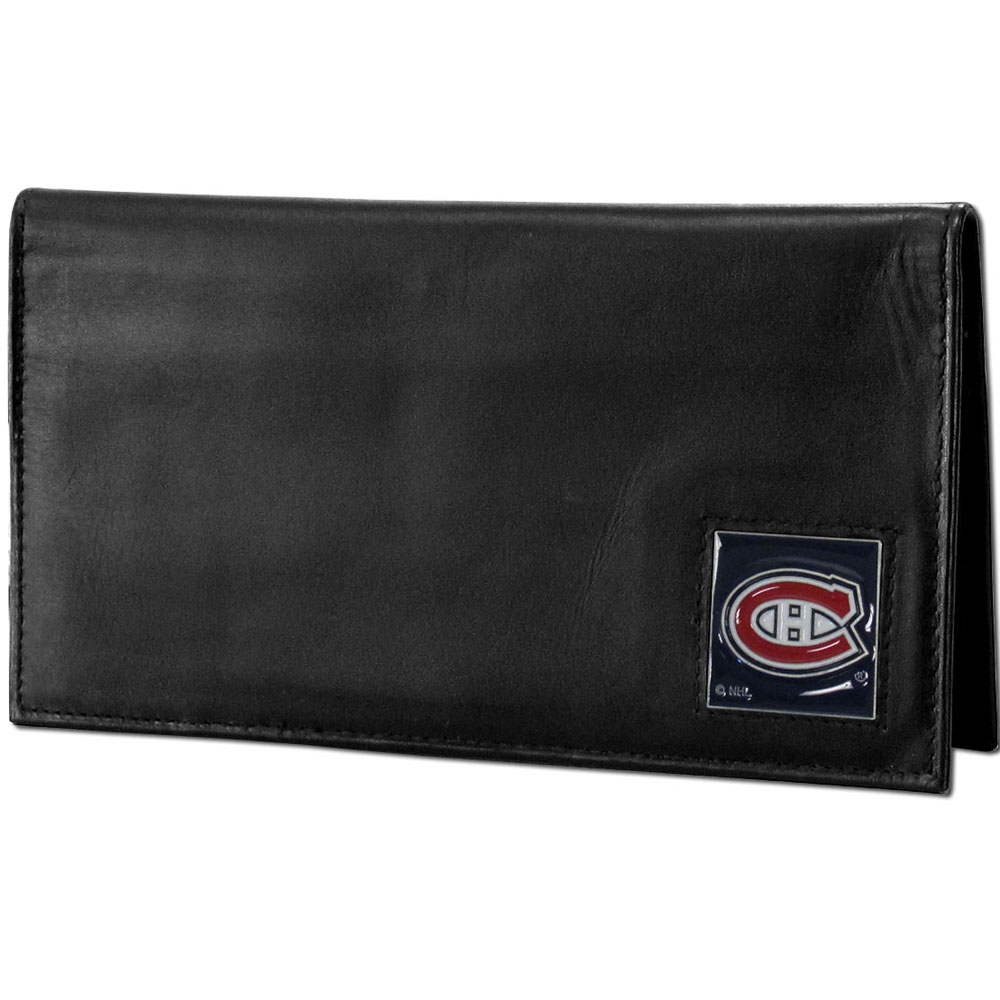 Montreal Canadiens® Deluxe Leather Checkbook Cover - Our officially licensed checkbook cover is made of high quality leather and includes a card holder, clear ID window, and inside zipper pocket for added storage. Fully cast and enameled Montreal Canadiens® team emblem on the front of the wallet.