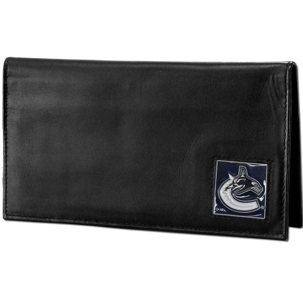Vancouver Canucks® Deluxe Leather Checkbook Cover - Our officially licensed checkbook cover is made of high quality leather and includes a card holder, clear ID window, and inside zipper pocket for added storage. Fully cast and enameled Vancouver Canucks® team emblem on the front of the wallet.