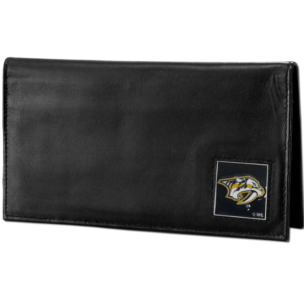 Nashville Predators® Deluxe Leather Checkbook Cover - Our officially licensed checkbook cover is made of high quality leather and includes a card holder, clear ID window, and inside zipper pocket for added storage. Fully cast and enameled Nashville Predators® team emblem on the front of the wallet.