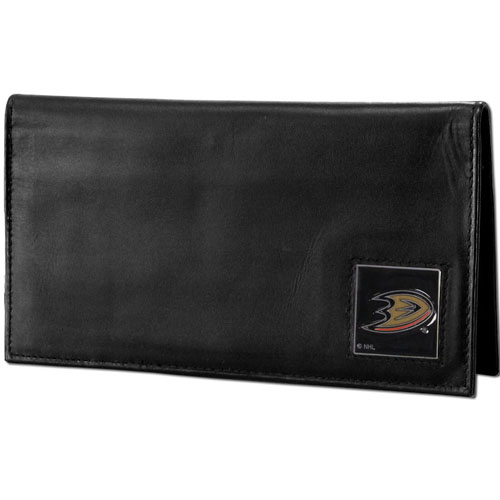 Anaheim Ducks Leather Dlx. Checkbook - Officially licensed NHL Anaheim Ducks checkbook cover is made of high quality leather and includes a card holder, clear ID window, and inside zipper pocket for added storage. Fully cast and enameled Anaheim Ducks emblem on the front of the wallet. Thank you for visiting CrazedOutSports