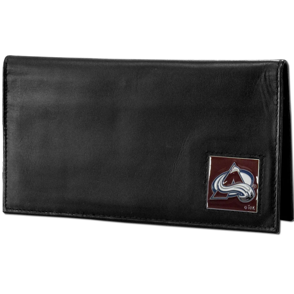 Colorado Avalanche® Deluxe Leather Checkbook Cover - Our officially licensed checkbook cover is made of high quality leather and includes a card holder, clear ID window, and inside zipper pocket for added storage. Fully cast and enameled Colorado Avalanche® team emblem on the front of the wallet.