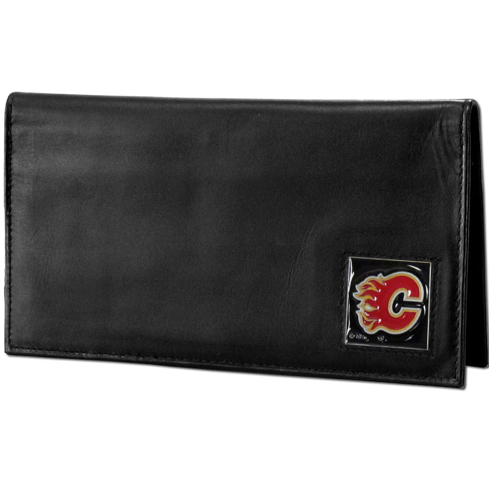 Calgary Flames® Deluxe Leather Checkbook Cover - Our officially licensed checkbook cover is made of high quality leather and includes a card holder, clear ID window, and inside zipper pocket for added storage. Fully cast and enameled Calgary Flames® team emblem on the front of the wallet.