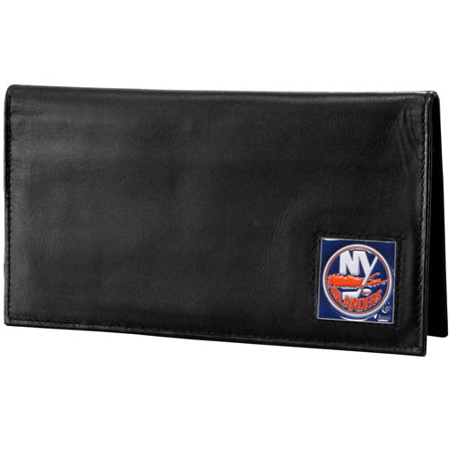 New York Islanders® Deluxe Leather Checkbook Cover - Our officially licensed checkbook cover is made of high quality leather and includes a card holder, clear ID window, and inside zipper pocket for added storage. Fully cast and enameled New York Islanders® team emblem on the front of the wallet.