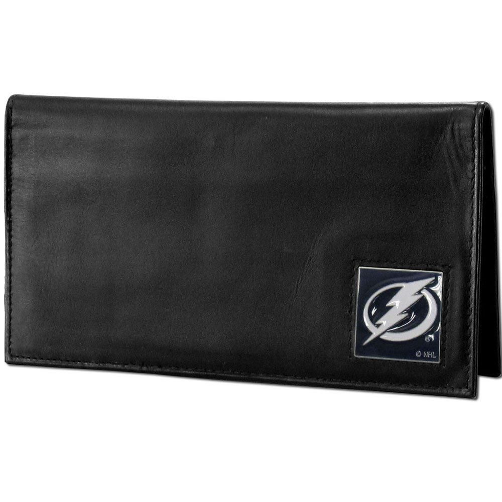 Tampa Bay Lightning® Deluxe Leather Checkbook Cover - Our officially licensed checkbook cover is made of high quality leather and includes a card holder, clear ID window, and inside zipper pocket for added storage. Fully cast and enameled Tampa Bay Lightning® team emblem on the front of the wallet.