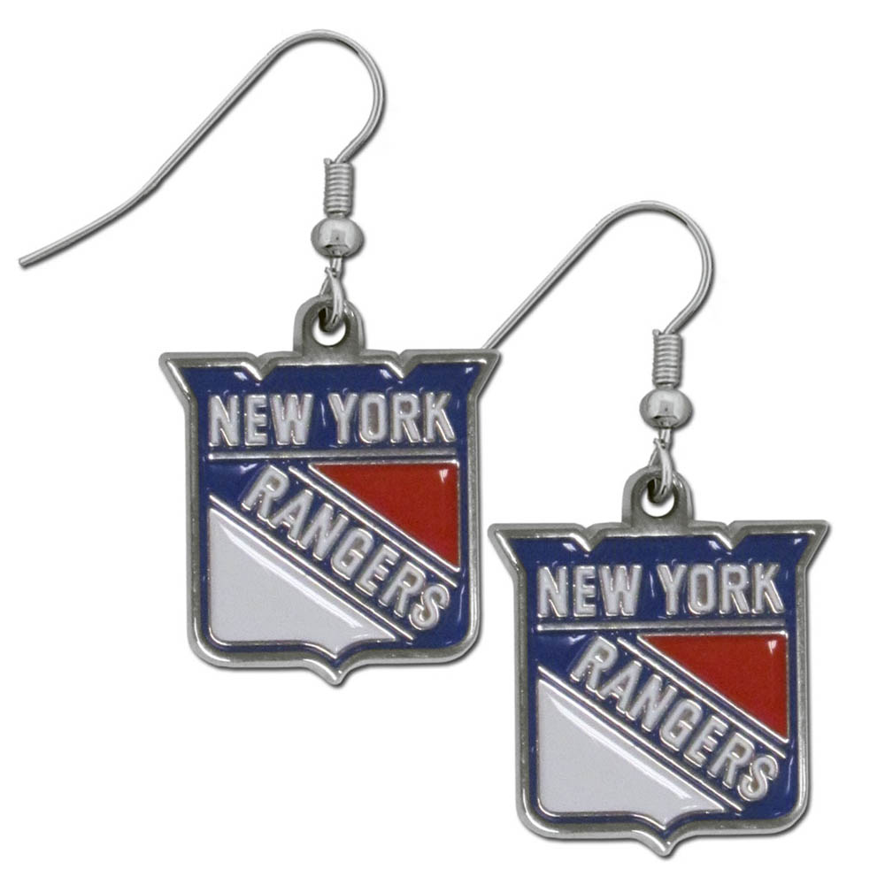 New York Rangers® Chrome Dangle Earrings - Our officially licensed chrome dangle earrings have fully cast New York Rangers® charms with exceptional detail and a hand enameled finish. The earrings have a high polish nickel free chrome finish and hypoallergenic fishhook posts.