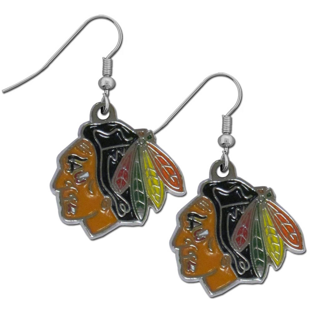 Chicago Blackhawks® Chrome Dangle Earrings - Our officially licensed chrome dangle earrings have fully cast Chicago Blackhawks® charms with exceptional detail and a hand enameled finish. The earrings have a high polish nickel free chrome finish and hypoallergenic fishhook posts.