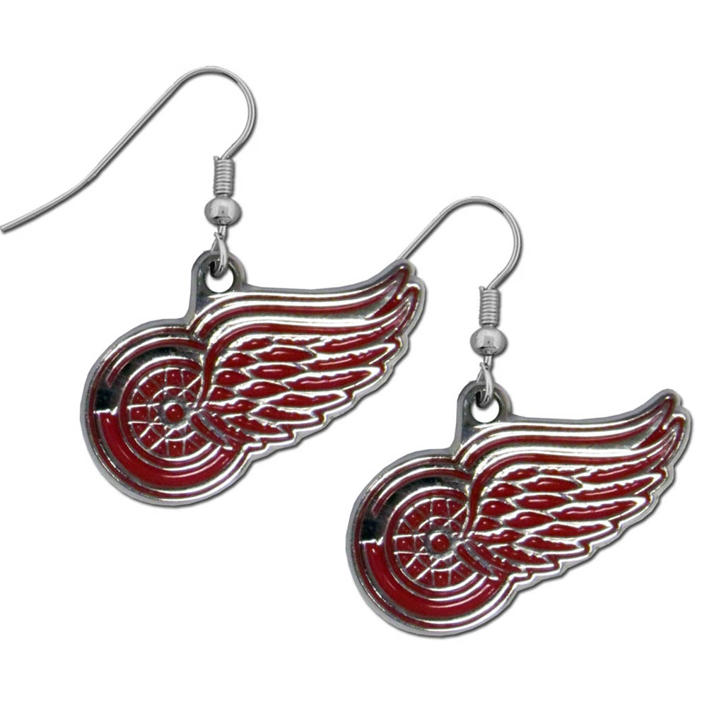 Detroit Red Wings® Chrome Dangle Earrings - Our officially licensed chrome dangle earrings have fully cast Detroit Red Wings® charms with exceptional detail and a hand enameled finish. The earrings have a high polish nickel free chrome finish and hypoallergenic fishhook posts.
