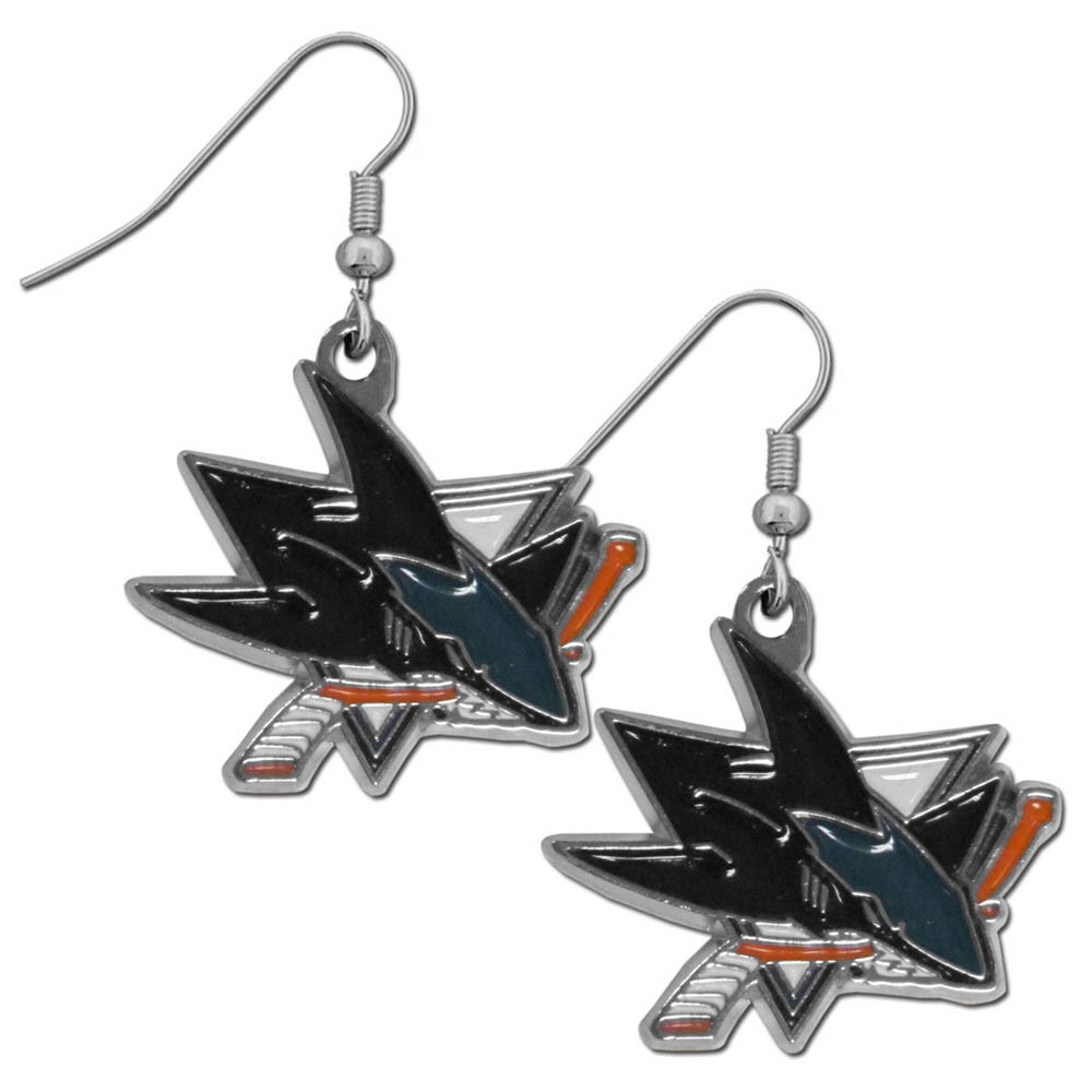 San Jose Sharks® Chrome Dangle Earrings - Our officially licensed chrome dangle earrings have fully cast San Jose Sharks® charms with exceptional detail and a hand enameled finish. The earrings have a high polish nickel free chrome finish and hypoallergenic fishhook posts.