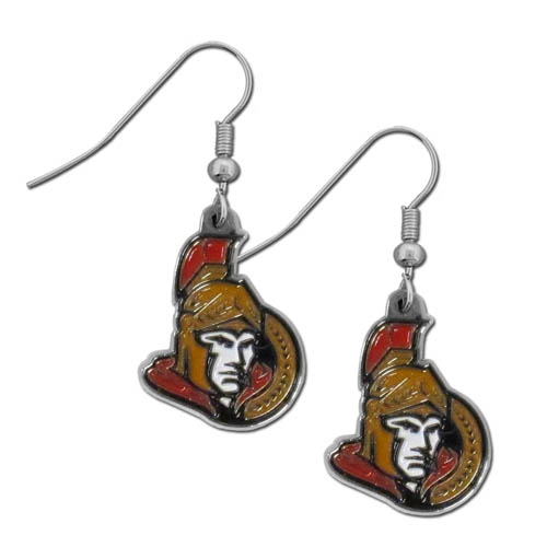 Ottawa Senators Chrome Dangle Earrings - Officially licensed Ottawa Senators Chrome dangle earrings have fully cast Ottawa Senators charms with exceptional detail and a hand enameled finish. The Ottawa Senators earrings have a high polish nickel free chrome finish and hypoallergenic fishhook posts.