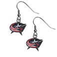 Columbus Blue Jackets  Chrome Dangle Earrings - Our officially licensed chrome dangle earrings have fully cast Columbus Blue Jackets  charms with exceptional detail and a hand enameled finish. The earrings have a high polish nickel free chrome finish and hypoallergenic fishhook posts.