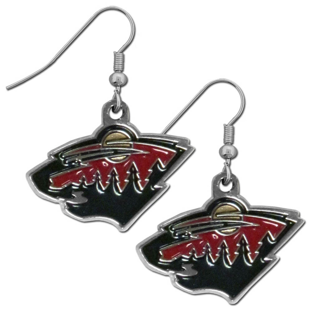 Minnesota Wild® Chrome Dangle Earrings - Our officially licensed chrome dangle earrings have fully cast Minnesota Wild® charms with exceptional detail and a hand enameled finish. The earrings have a high polish nickel free chrome finish and hypoallergenic fishhook posts.