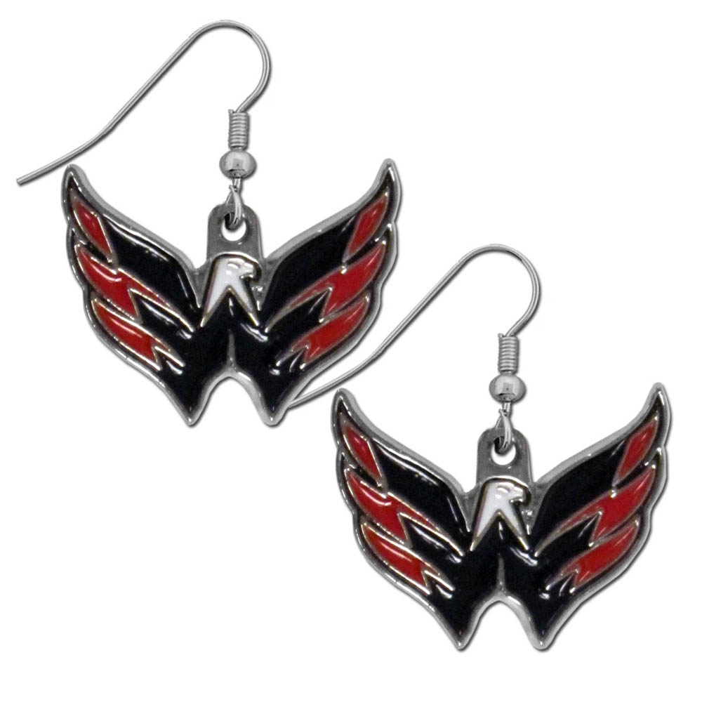 Washington Capitals® Chrome Dangle Earrings - Our officially licensed chrome dangle earrings have fully cast Washington Capitals® charms with exceptional detail and a hand enameled finish. The earrings have a high polish nickel free chrome finish and hypoallergenic fishhook posts.