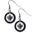 Winnipeg Jets Chrome Dangle Earrings - Officially licensed Winnipeg Jets chrome dangle earrings have fully cast Winnipeg Jets   charms with exceptional detail and a hand enameled finish. The earrings have a high polish nickel free chrome finish and hypoallergenic fishhook posts.