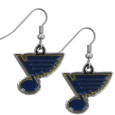 St. Louis Blues  Chrome Dangle Earrings - Our NHL dangle earrings are fully cast with exceptional detail and a hand enameled finish. The earrings have a high polish chrome finish and hypoallergenic fishhook posts.