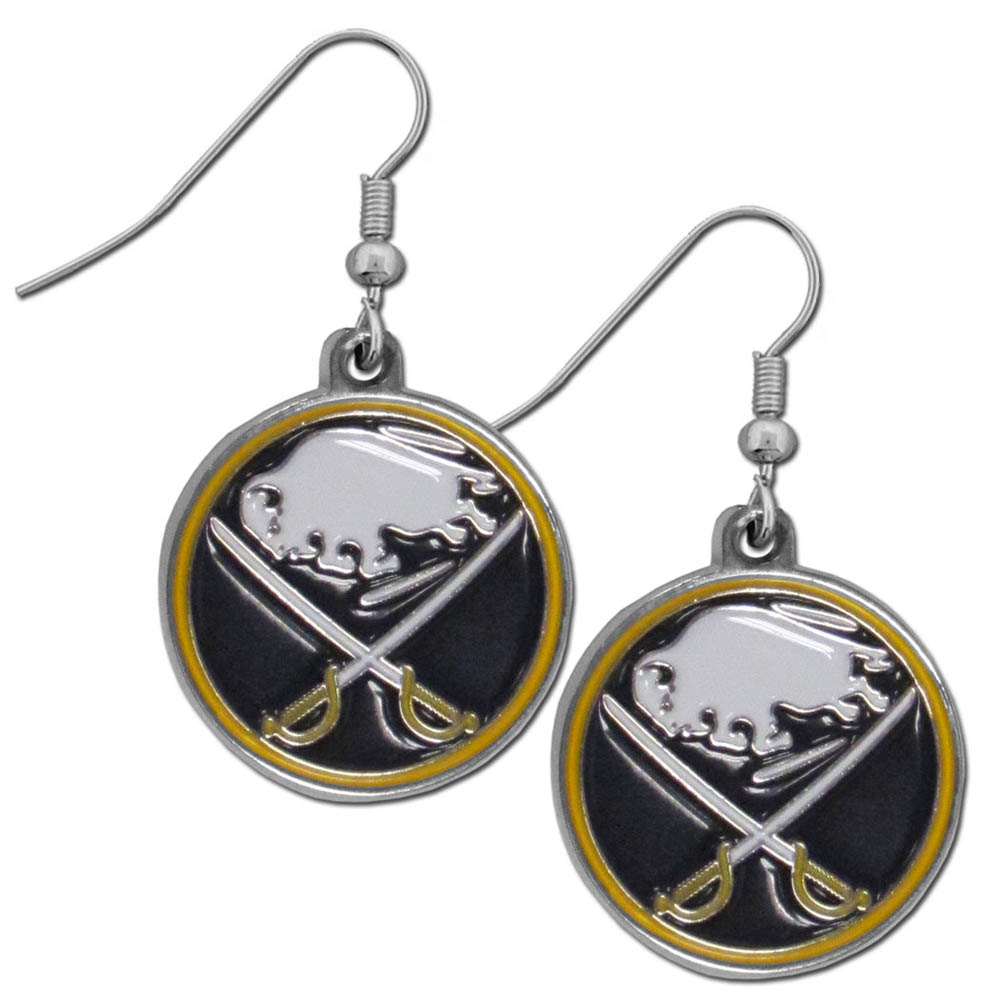 Buffalo Sabres® Chrome Dangle Earrings - Our officially licensed chrome dangle earrings have fully cast Buffalo Sabres® charms with exceptional detail and a hand enameled finish. The earrings have a high polish nickel free chrome finish and hypoallergenic fishhook posts.