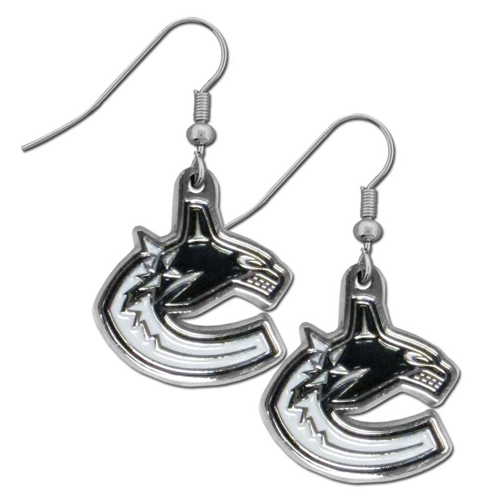Vancouver Canucks® Chrome Dangle Earrings - Our officially licensed chrome dangle earrings have fully cast Vancouver Canucks® charms with exceptional detail and a hand enameled finish. The earrings have a high polish nickel free chrome finish and hypoallergenic fishhook posts.