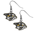 Nashville Predators  Chrome Dangle Earrings - Our officially licensed chrome dangle earrings have fully cast Nashville Predators  charms with exceptional detail and a hand enameled finish. The earrings have a high polish nickel free chrome finish and hypoallergenic fishhook posts.