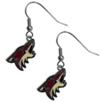 Arizona Coyotes  Chrome Dangle Earrings - Our officially licensed chrome dangle earrings have fully cast Arizona Coyotes  charms with exceptional detail and a hand enameled finish. The earrings have a high polish nickel free chrome finish and hypoallergenic fishhook posts. Thank you for visiting CrazedOutSports