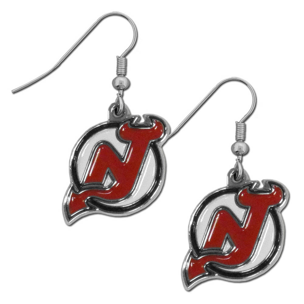 New Jersey Devils® Chrome Dangle Earrings - Our officially licensed chrome dangle earrings have fully cast New Jersey Devils® charms with exceptional detail and a hand enameled finish. The earrings have a high polish nickel free chrome finish and hypoallergenic fishhook posts.