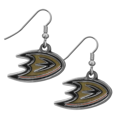 Anaheim Ducks Dangle Earrings - Our officially licensed NHL Anaheim Ducks Dangle Earrings are fully cast with exceptional detail and a hand enameled finish. The earrings have a high polish nickel free chrome finish and hypoallergenic fishhook posts. Thank you for visiting CrazedOutSports