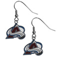 Colorado Avalanche Chrome Dangle Earrings - Our officially licensed chrome dangle earrings have fully cast Colorado Avalanche charms with exceptional detail and a hand enameled finish. The earrings have a high polish nickel free chrome finish and hypoallergenic fishhook posts.