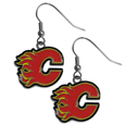 Calgary Flames  Chrome Dangle Earrings - Our officially licensed chrome dangle earrings have fully cast Calgary Flames  charms with exceptional detail and a hand enameled finish. The earrings have a high polish nickel free chrome finish and hypoallergenic fishhook posts. Thank you for visiting CrazedOutSports