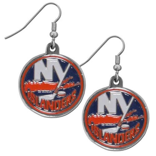 New York Islanders Chrome Dangle Earrings - Officially licensed New York Islanders chrome dangle earrings have fully cast New York Islanders charms with exceptional detail and a hand enameled finish. The earrings have a high polish nickel free chrome finish and hypoallergenic fishhook posts.