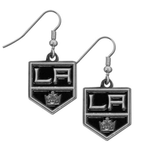Los Angeles Kings Dangle Earrings - Our officially licensed Los Angeles Kings Dangle Earrings are fully cast with exceptional detail and a hand enameled finish. The earrings have a high polish nickel free chrome finish and hypoallergenic fishhook posts.