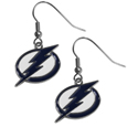 Tampa Bay Lightning  Chrome Dangle Earrings - Our officially licensed chrome dangle earrings have fully cast Tampa Bay Lightning  charms with exceptional detail and a hand enameled finish. The earrings have a high polish nickel free chrome finish and hypoallergenic fishhook posts.