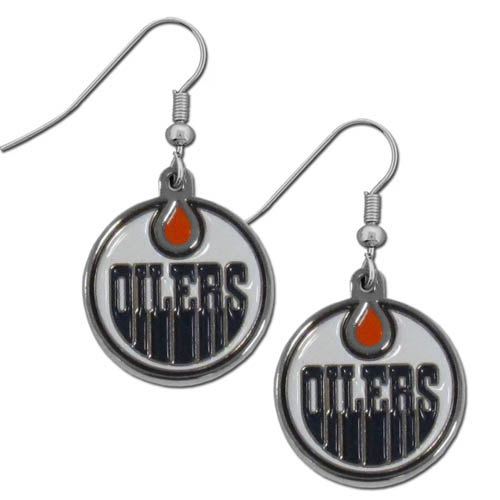 Edmonton Oilers Chrome Dangle Earrings - Officially licensed Edmonton Oilers chrome dangle earrings have fully cast Edmonton Oilers charms with exceptional detail with a hand enameled finish. The Edmonton Oilers chrome dangle earrings have a high polish nickel free chrome finish and hypoallergenic fishhook posts.