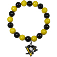 Pittsburgh Penguins  Fan Bead Bracelet - These bright Pittsburgh Penguins fan bead bracelets stretch to fit and feature a full metal Pittsburgh Penguins charm with enameled details. Perfect, eye catching Pittsburgh Penguins game day accessory. Thank you for visiting CrazedOutSports