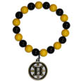 Boston Bruins Fan Bead Bracelet - These bright Boston Bruins Fan Bead Bracelet stretch to fit and feature a full metal Boston Bruins charm with enameled Boston Bruins details. Perfect, eye catching game day accessory. Thank you for visiting CrazedOutSports