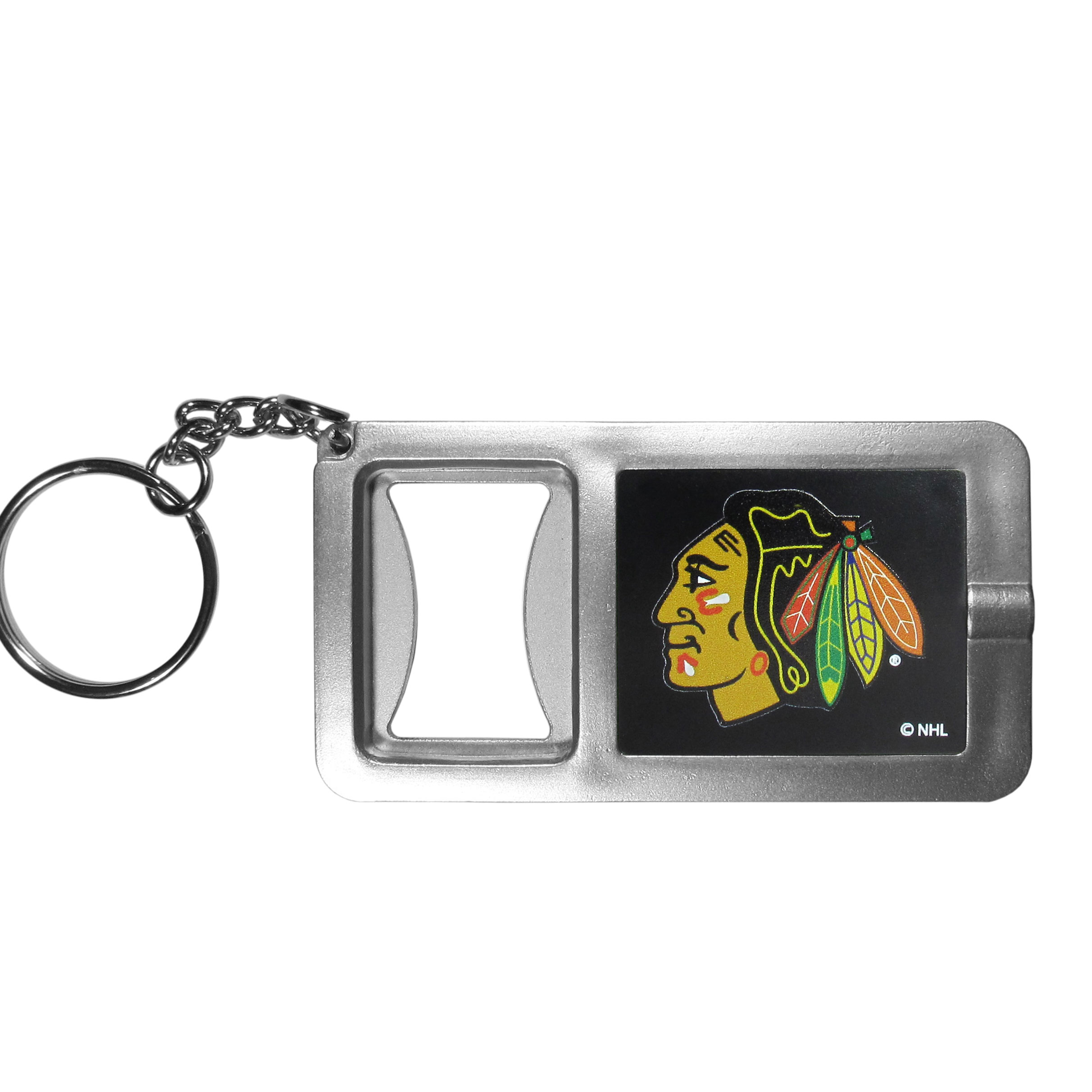 Chicago Blackhawks® Flashlight Key Chain with Bottle Opener - Never be without light with our Chicago Blackhawks® flashlight keychain that features a handy bottle opener feature. This versatile key chain is perfect for camping and travel and is a great way to show off your team pride!