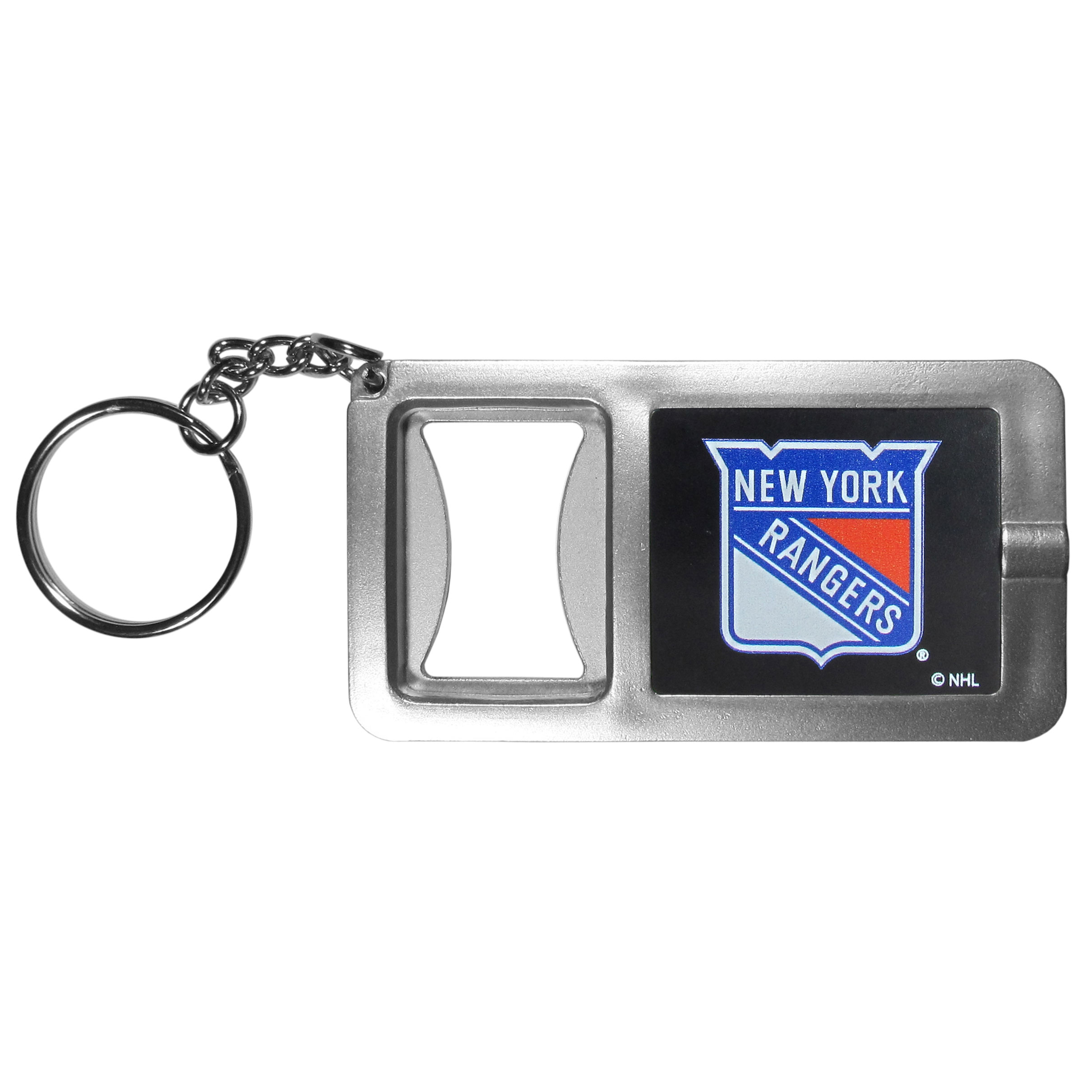 New York Rangers® Flashlight Key Chain with Bottle Opener - Never be without light with our New York Rangers® flashlight keychain that features a handy bottle opener feature. This versatile key chain is perfect for camping and travel and is a great way to show off your team pride!