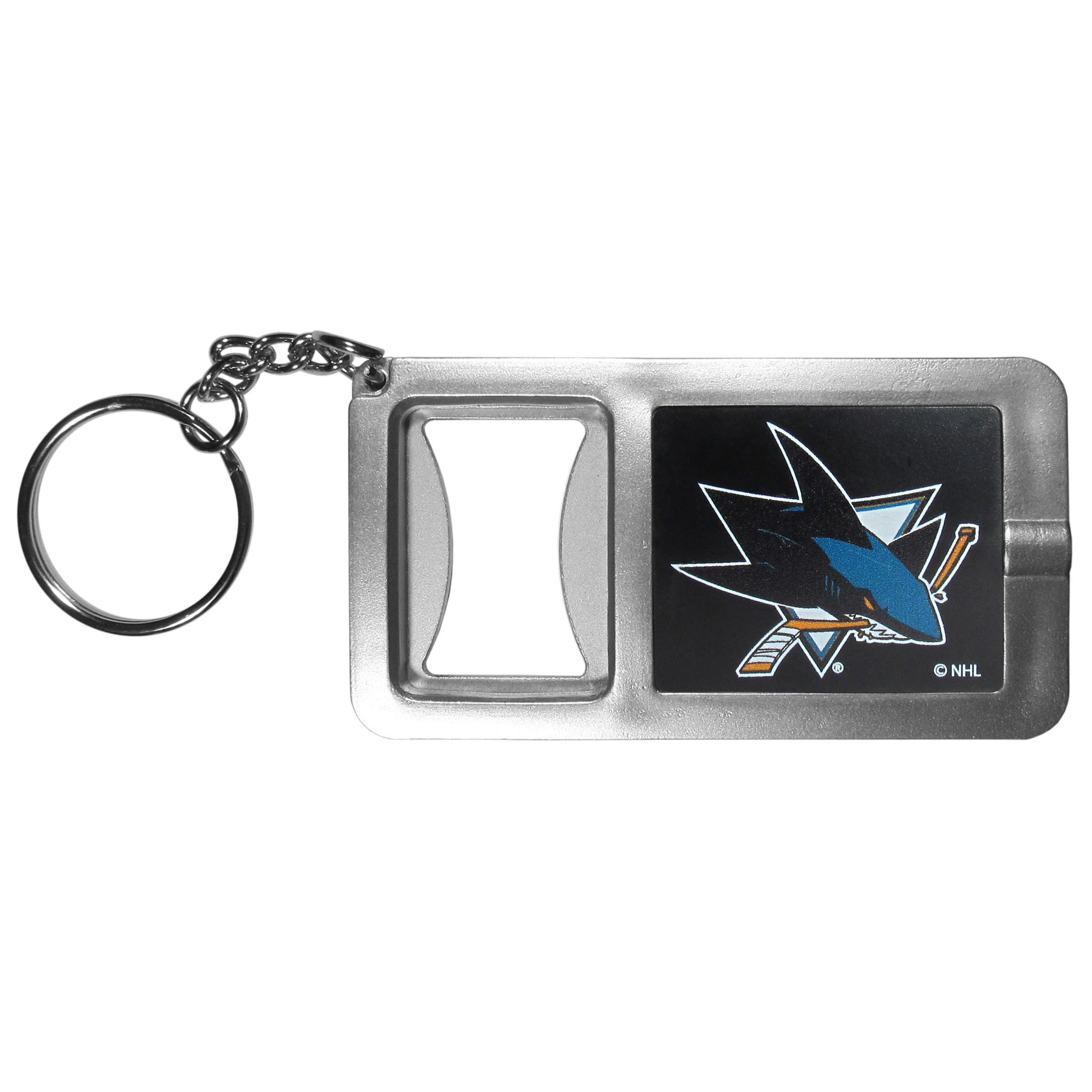 San Jose Sharks® Flashlight Key Chain with Bottle Opener - Never be without light with our San Jose Sharks® flashlight keychain that features a handy bottle opener feature. This versatile key chain is perfect for camping and travel and is a great way to show off your team pride!