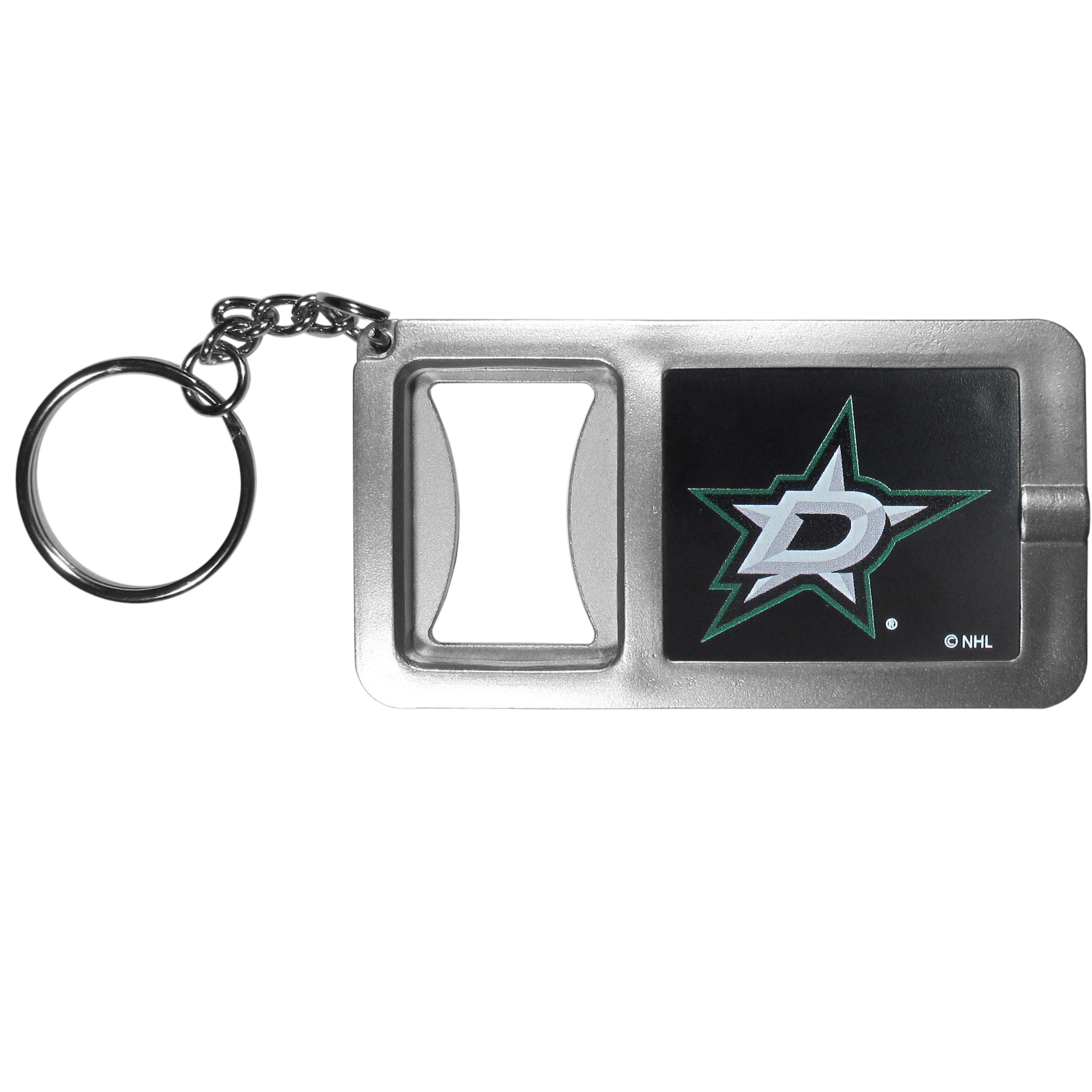 Dallas Stars™ Flashlight Key Chain with Bottle Opener - Never be without light with our Dallas Stars™ flashlight keychain that features a handy bottle opener feature. This versatile key chain is perfect for camping and travel and is a great way to show off your team pride!