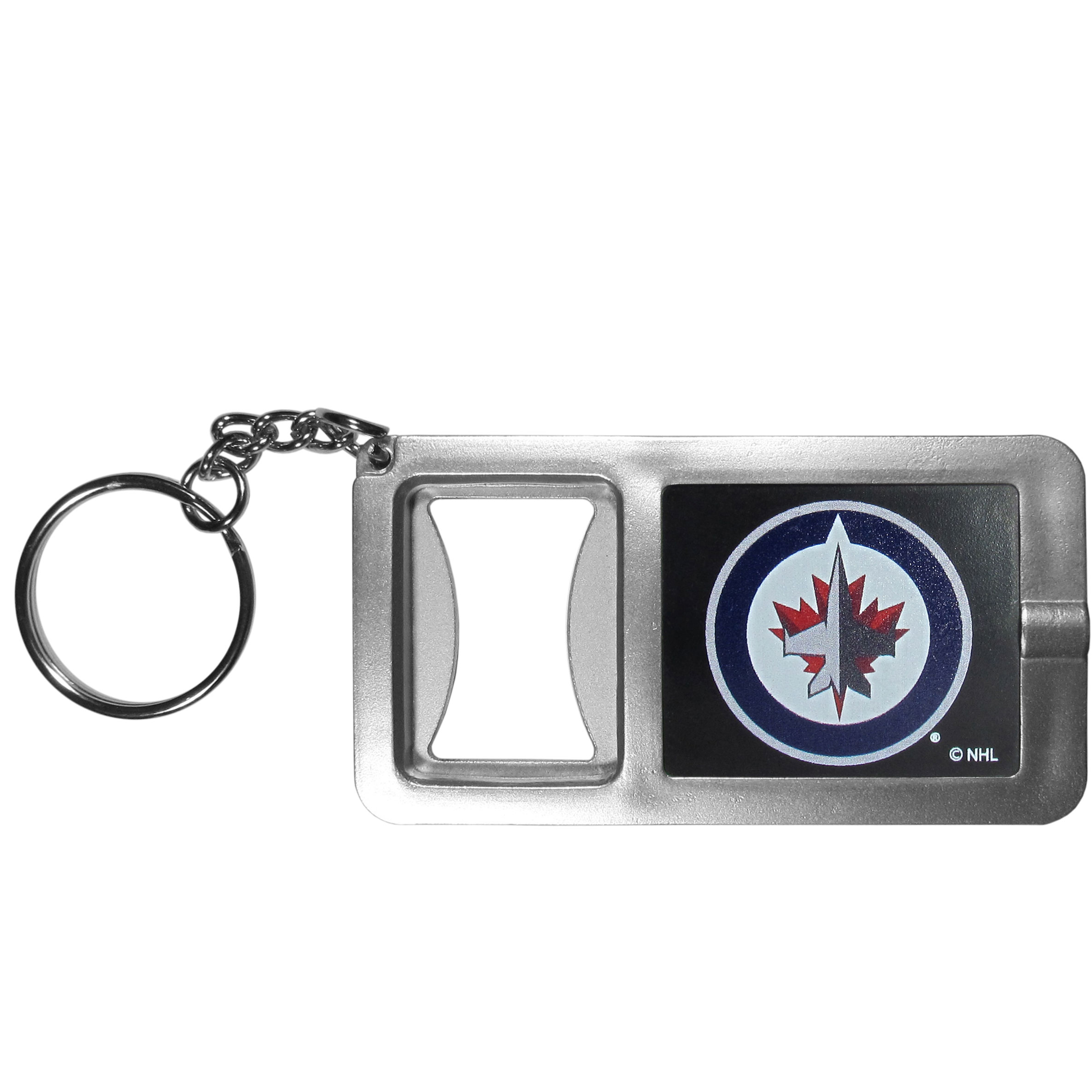 Winnipeg Jets™ Flashlight Key Chain with Bottle Opener - Never be without light with our Winnipeg Jets™ flashlight keychain that features a handy bottle opener feature. This versatile key chain is perfect for camping and travel and is a great way to show off your team pride!