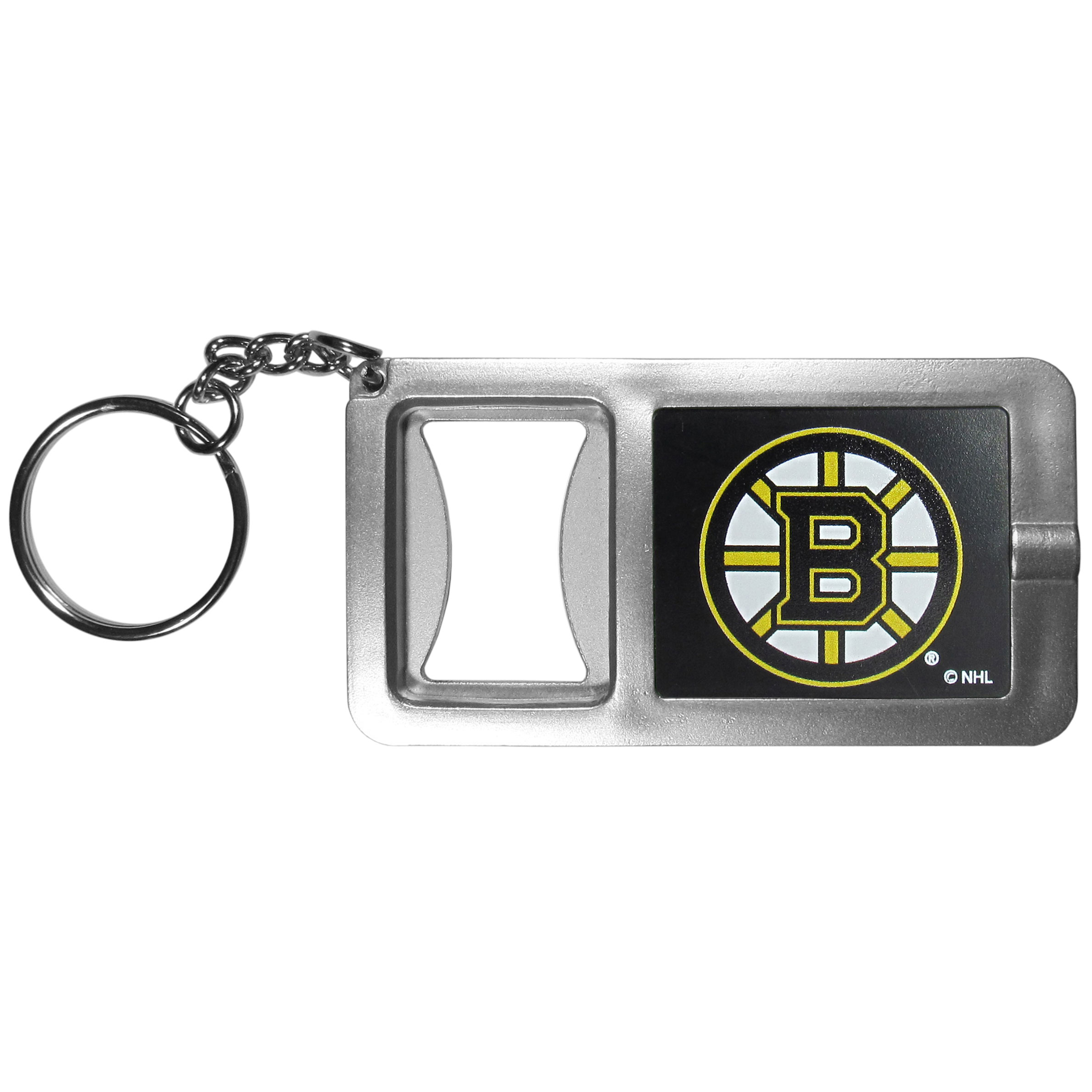 Boston Bruins Flashlight Key Chain with Bottle Opener - Never be without light with our Boston Bruins flashlight keychain that features a handy bottle opener feature. This versatile key chain is perfect for camping and travel and is a great way to show off your team pride!