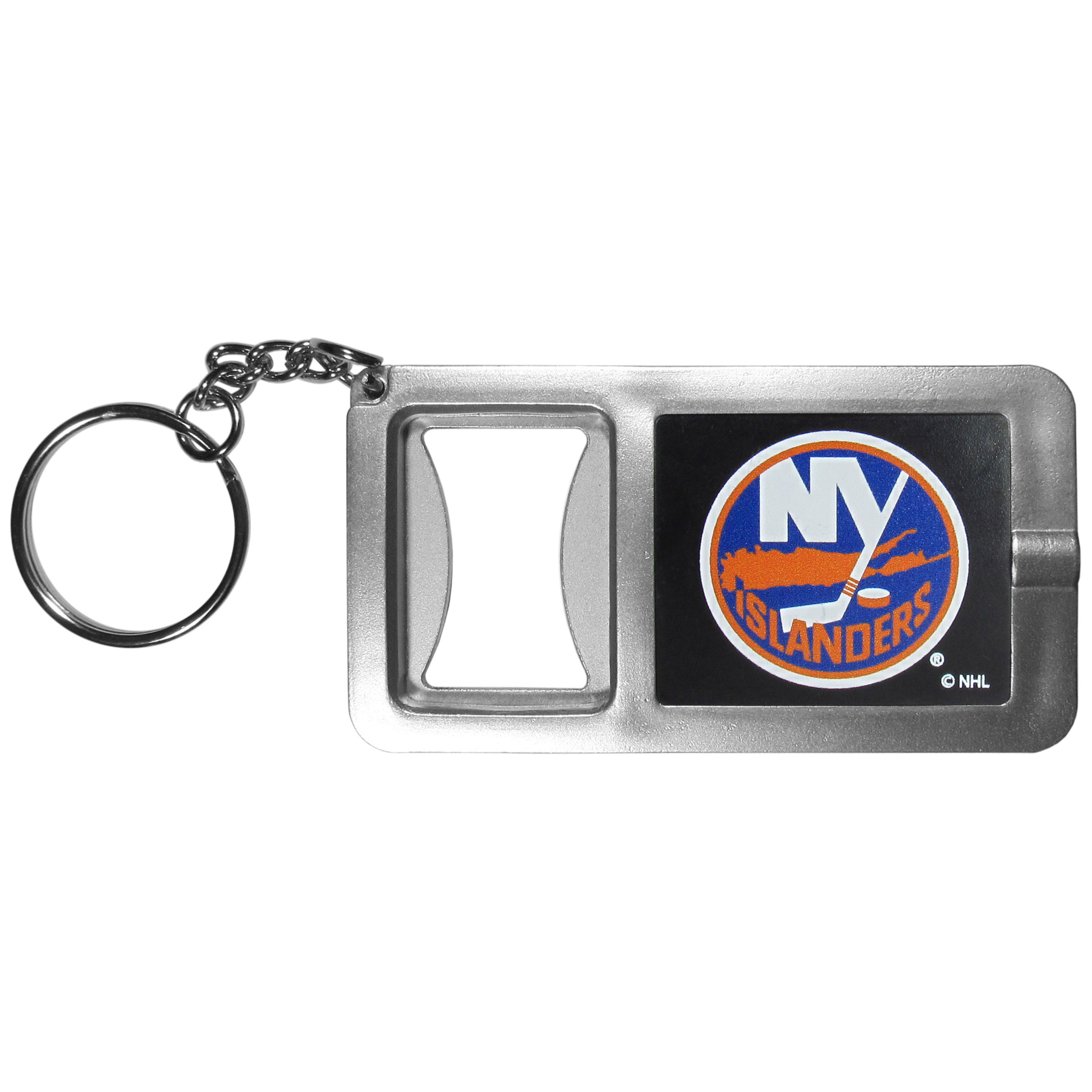 New York Islanders Flashlight Key Chain with Bottle Opener - Never be without light with our New York Islanders flashlight keychain that features a handy bottle opener feature. This versatile key chain is perfect for camping and travel and is a great way to show off your team pride!